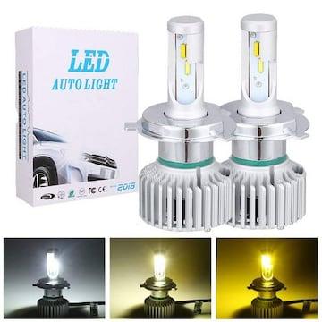 3色切替LEDヘッドライト H4 Hi/Lo切り替えタイプ ファン付