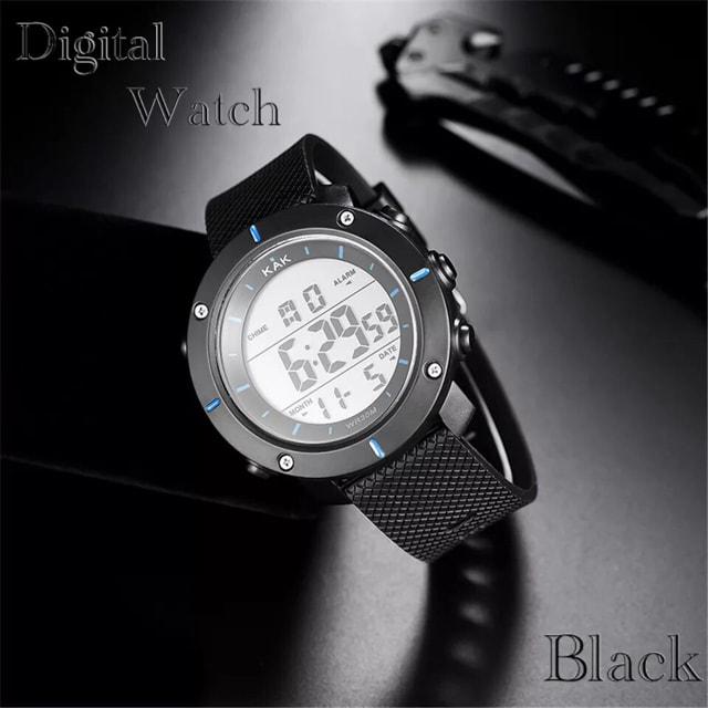 スポーツ腕時計 LED デジタル腕時計 ミリタリー スポーツ 青  < 男性アクセサリー/時計の