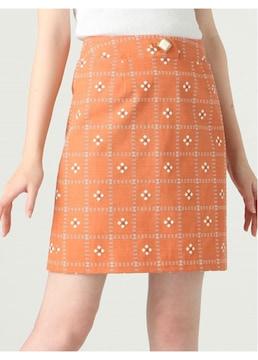 Dazzlin、ダズリン ぷっくりレトロフラワースカート オレンジ