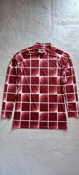 ★快適Lynx sports赤茶レンガ色チェック柄ハイネック長袖Tシャツ