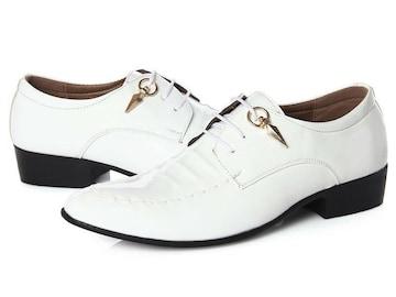 25.0 エナメル ドレスシューズ 靴 トンガリ メンズ ヤクザ オラオラ お兄系 ホスト 116白