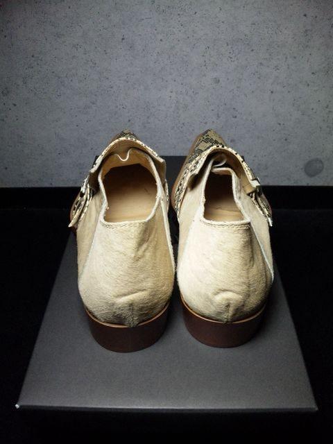 トルネードマート〓新品パイソン&ハラコシューズ靴〓ベージュ/S < ブランドの