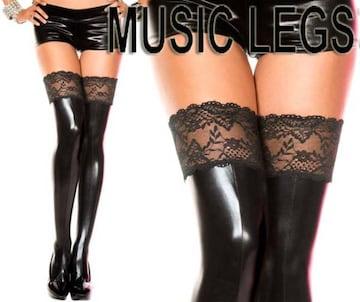 A61)MusicLegsウェットルックサイハイタイツ黒ボンテージ女王様ダンスダンサー衣装B系