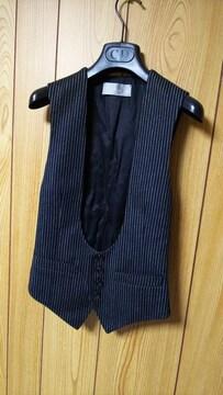 国内正規美 Dior Hommeディオールオム Uカットドレスジレ黒 ブラックベスト 最小38