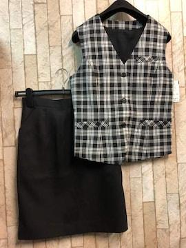 新品☆9号お仕事ベストスーツ温度調整裏地付!黒チェック☆n299