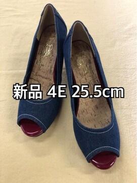 新品☆25.5cm幅広4Eデニムのオープントゥパンプス☆j377