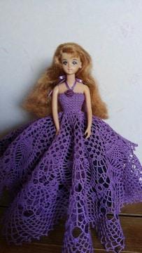 ジェニーちゃん紫のレース編みロングドレス