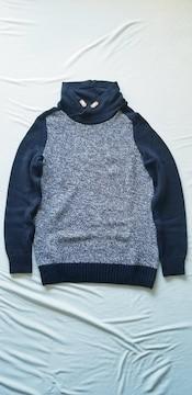H&M紺色杢ネイビー綿コットンニット長袖スタンドカラーセーター