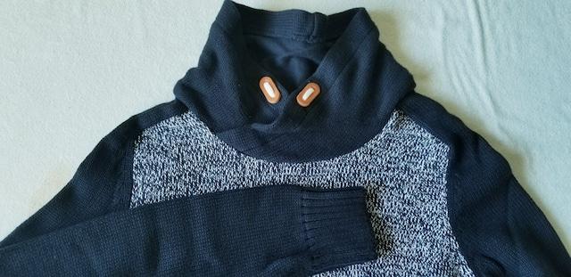 H&M紺色杢ネイビー綿コットンニット長袖スタンドカラーセーター < ブランドの