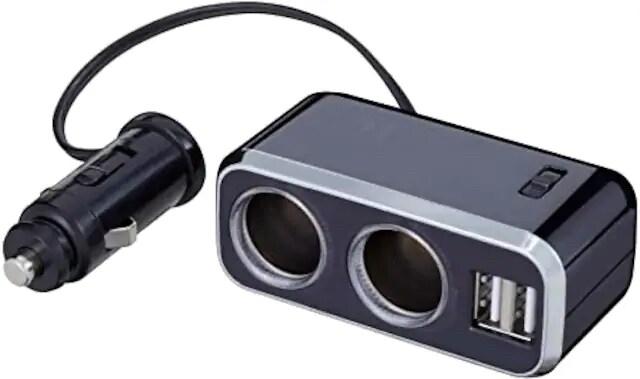 ナポレックス 車用 シガーソケット分配器 2連 USB端子2口 コー < 自動車/バイク