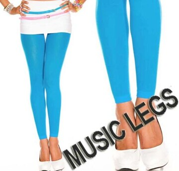 A1609)MUSICLEGSレギンスオペークタイツターコイズGOGOダンサーダンス衣装ストッキング