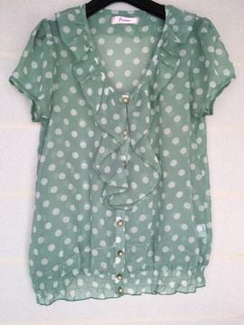 Fiapper ミントグリーン 水玉 シースルー  半袖 ブラウザ L N2m