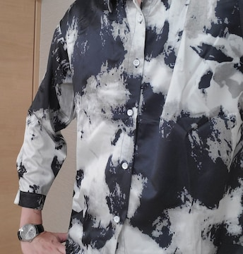 Lサイズ マーブル シャツ モノクロ レターパック