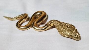 正規 限定 Dior ラグジュアリー スネークブローチ ゴールド×パヴェストーン 蛇 12cm