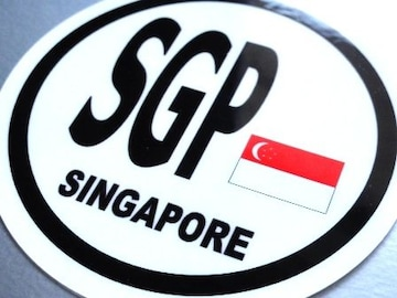 ○円形 シンガポール国旗ステッカービークルID国識別シール