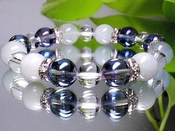 爽やか天然石◆アクアマリン・アクアオーラブルー・天然水晶数珠