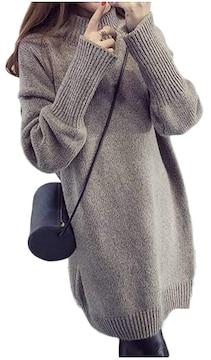 ニットワンピ ニットワンピース セーター リブ K