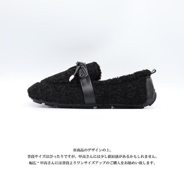 モカシン 冬靴 暖かい もこもこ パンプス シューズ < 女性ファッションの