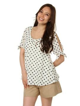 新品タグ付PinkyGirlsピンキーガールズ肩開きドット柄半袖トップス水玉Tシャツ