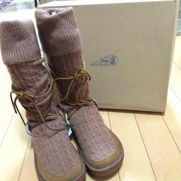新品◆Indian◆ニットブーツ◆23.0キャメル◆インディアン