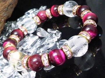四神獣水晶12ミリ§ピンクタイガーアイ10ミリ数珠