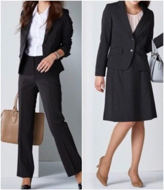 新品☆9号♪黒無地系のパンツ・スカート3点セットスーツ♪☆s620 < 女性ファッションの