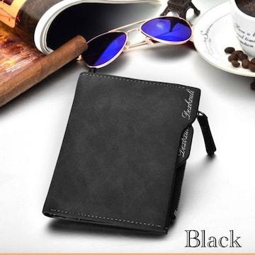 財布 二つ折り財布 ヴィンテージ レザー 小銭入れ ブラック