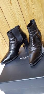 正規 サンローランパリ 8.5フレンチブーツ黒 43 26.5〜27 メンズ サイドゴアヒールブーツ