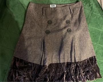 インディオ 茶色 みにスカート サイズL