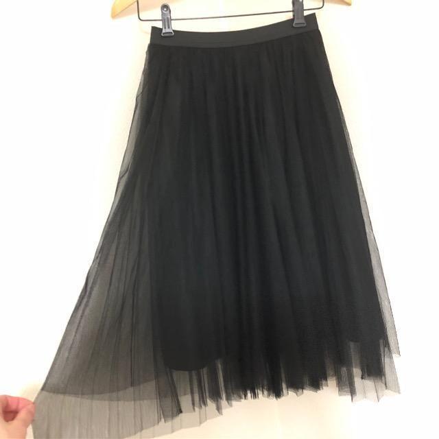 チュールスカート ブラック  < 女性ファッションの