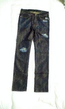 新品roenJeans×ボブソンコラボ金糸クラッシュパンツ33