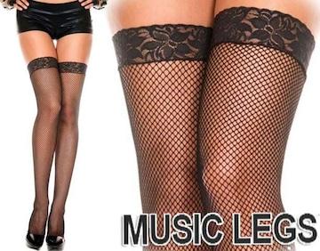 A232)MUSICLEGSレーストップサイハイストッキング黒ブラックタイツダンス衣装ダンサーB系
