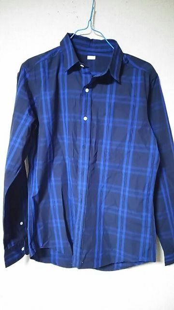 GU★ブルー。チェック★長袖シャツ☆*Ssize★  < ブランドの