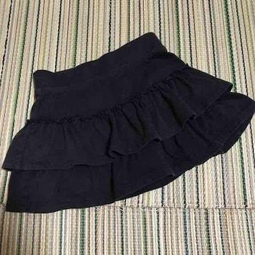 95〜100 スカンツ スパッツ付きスカート フリルスカート 黒