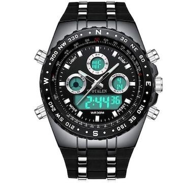 BINZI 軍事腕時計 アナデジ表示 BZ-1605b メンズ