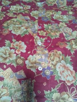 ☆新柄赤×牡丹桜短冊扇子和柄ダボシャツM