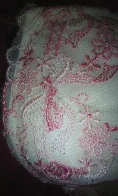 お花とリボン刺繍が女の子らしいブラ&ショーツC65Mピンク