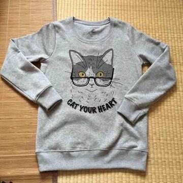 nekotsubo・メガネ猫キャラクター柄トレーナー。グレー
