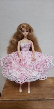 ジェニーちゃんピンク×白のレース編みミニドレス