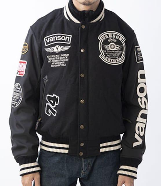 新品正規VANSONアワードジャケット黒LバイカーVS20113W  < ブランドの