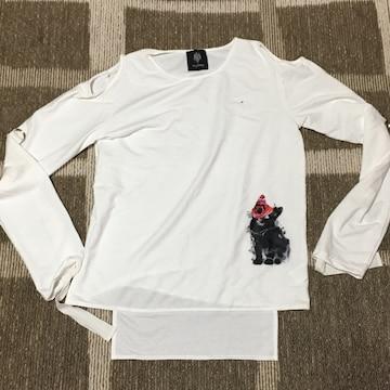 ドラッグハニー・薔薇&猫プリント肩開きカットソー。ホワイト