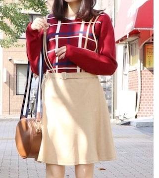 dazzlin サス付フレアミニスカート ベージュ