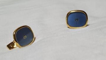 正規 ミラショーン MILA SCHON Mロゴエンブレム カフス 青×金 スクエアカフリンクス