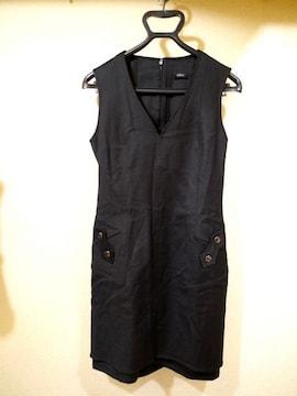 美品◆VERSUS VERSACEヴェルサーチ ウールワンピース ドレス黒◆