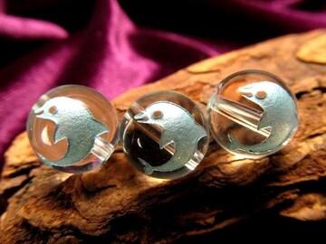 ☆かわいいブルー彫りイルカのビーズ☆天然水晶10mm@1個