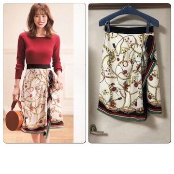 新品同様アプワイザー スカーフプリントスカート2