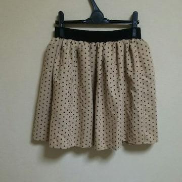 ベージュ ドット ミニ スカートS