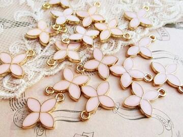 四弁花カラーチャーム4個ピンク