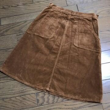 レイビームス キャメルカラー膝丈コーデュロイフレアスカート