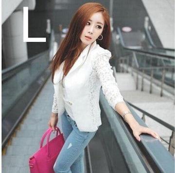 新品☆袖レース♪オシャレジャケット ホワイト L